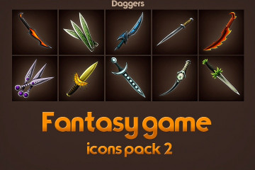 Free Game Icons of Fantasy Daggers – Pack 2