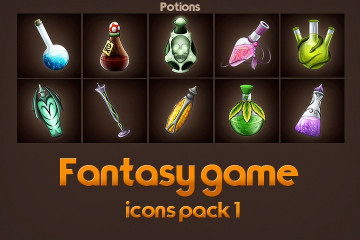 Free Game Icons of Fantasy Potions – Pack 1