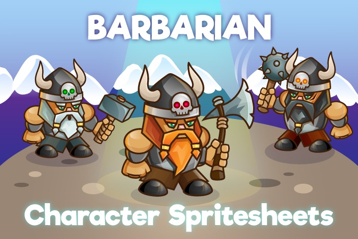 2D Game Barbarian Character Sprite