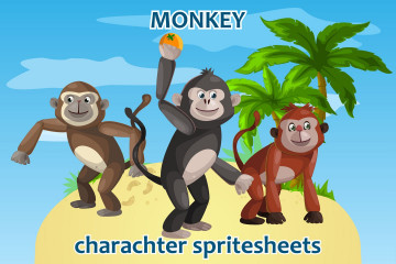2D Game Monkey Character Sprite