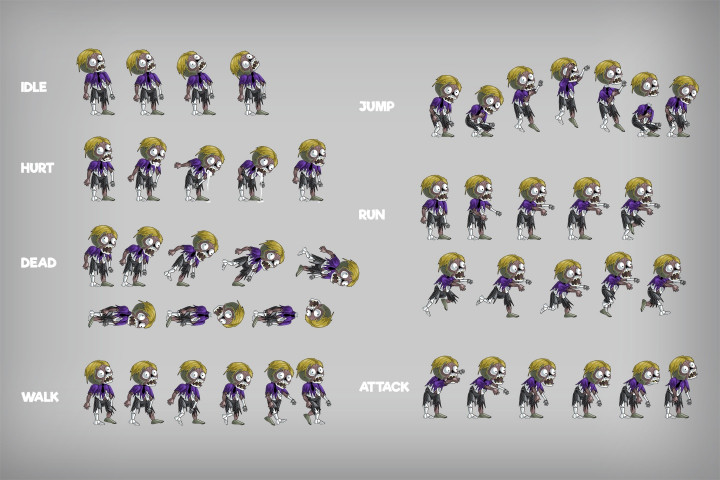 2D Game Zombie Character Sprite