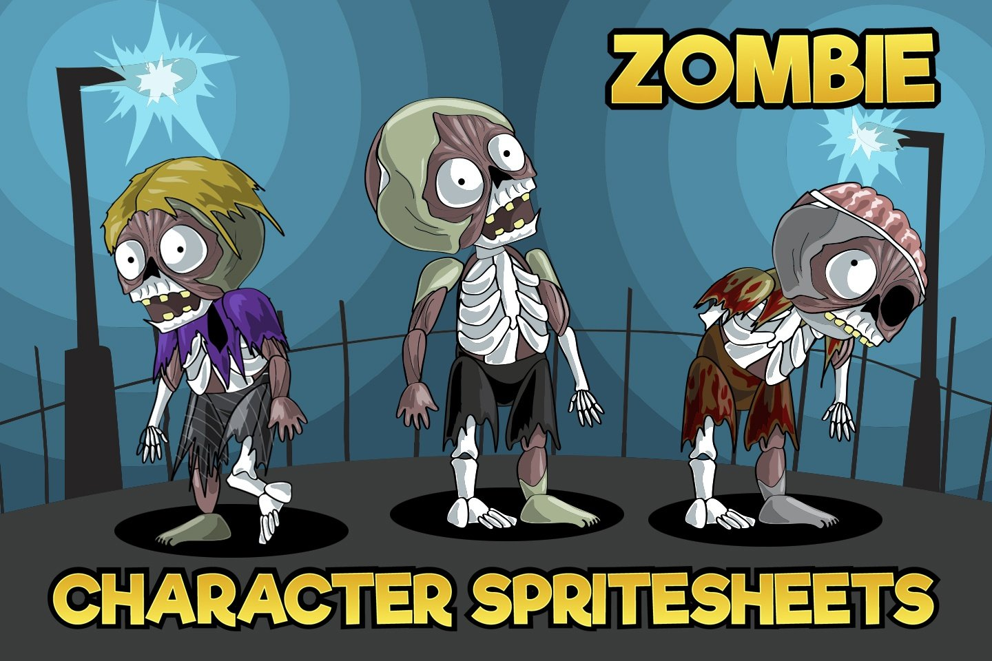 2D Game Zombie Character Sprite Pack 2