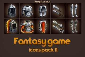 Free Game Icons of Fantasy Knight Armor – Pack 11