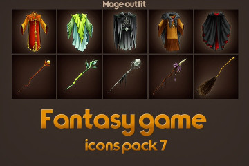 Free Game Icons of Fantasy Mage Outfit – Pack 7