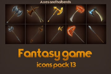 Game Icons of Fantasy Axes and Halberds – Pack 13