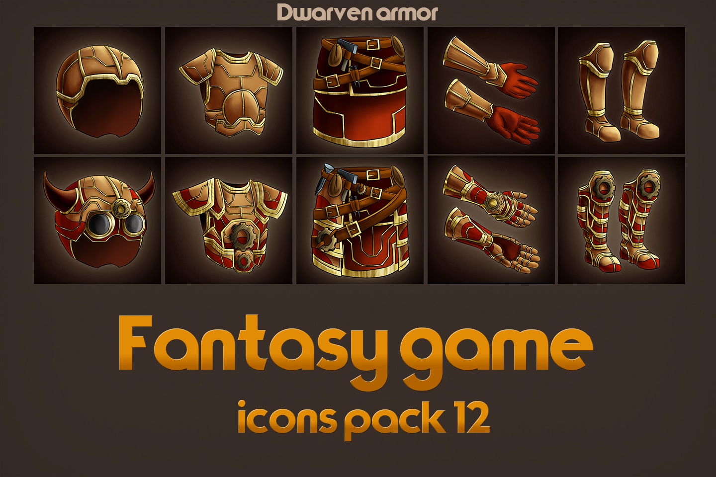 Game Icons of Fantasy Dwarven Armor – Pack 12
