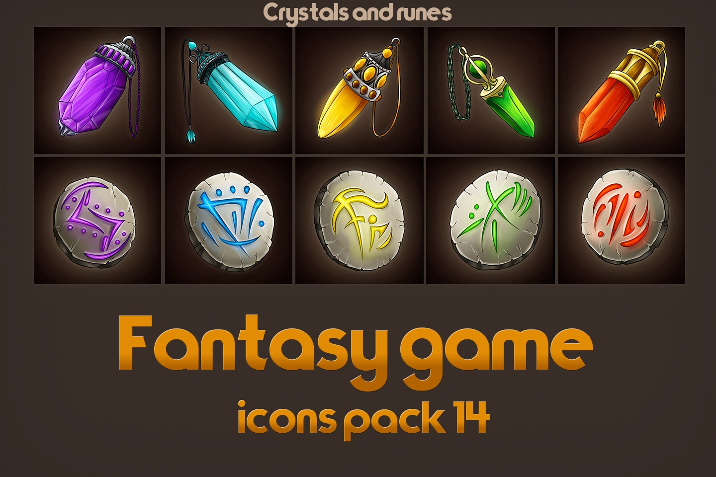 Game Icons of Fantasy Runes and Crystals – Pack 14