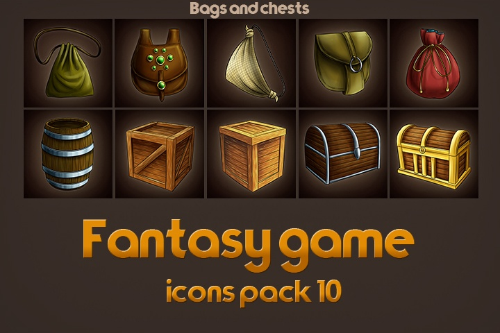 Game Icons of Fantasy Bags Chests – Pack 10
