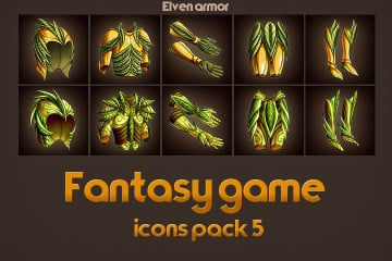Game Icons of Fantasy Elven Armor – Pack 5