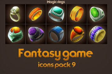 Game Icons of Fantasy Magic Rings – Pack 9