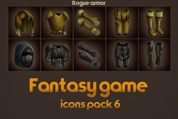 Game Icons of Fantasy Rogue Armor – Pack 6