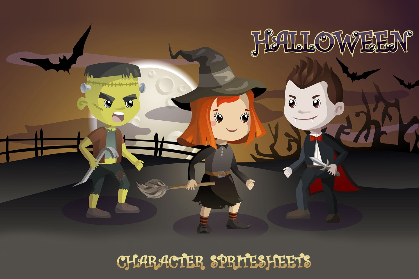 2d Character Design Software Free Download : Halloween d game character sprite sheets craftpix