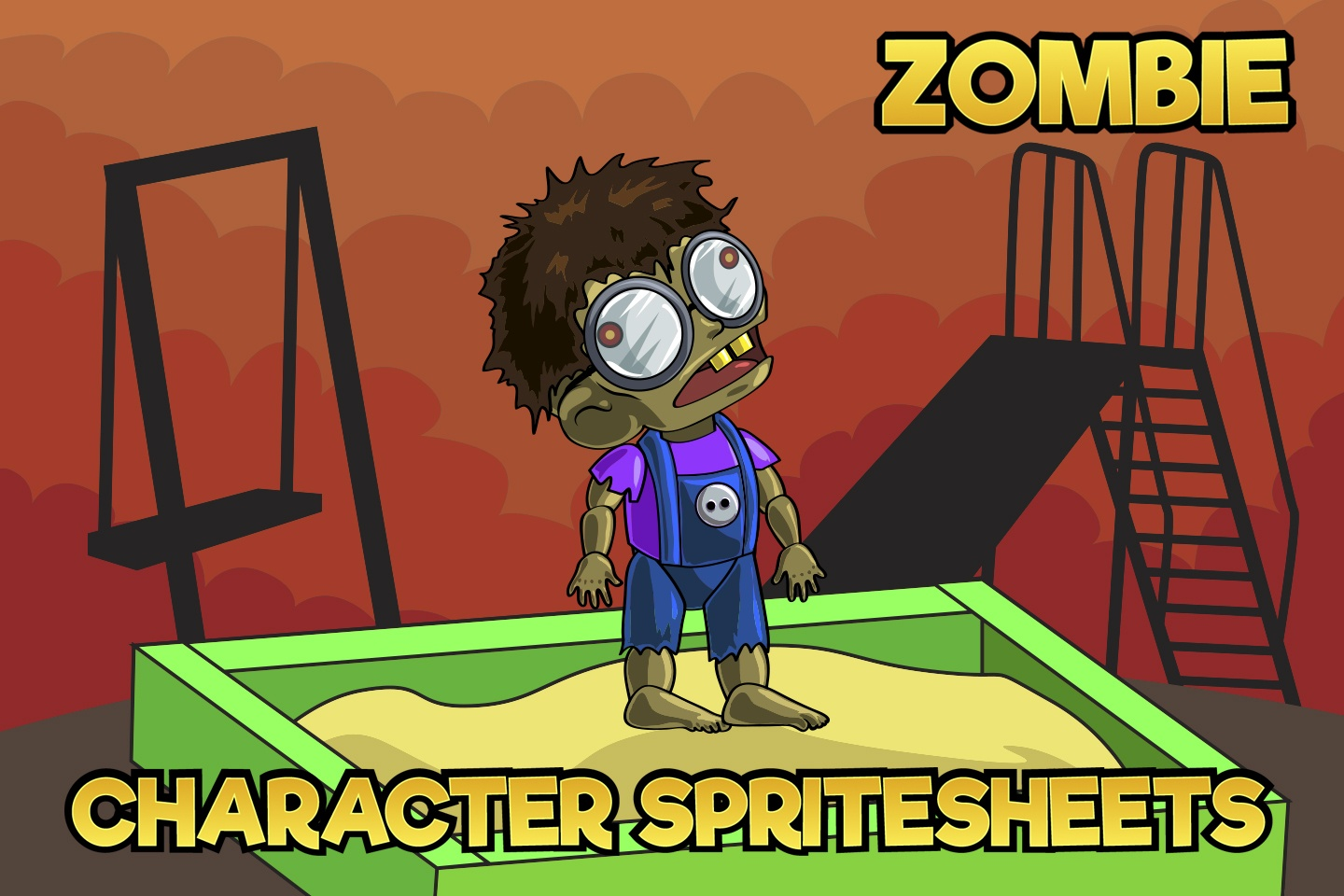 2D Game Zombie Kids Character Sprite 7