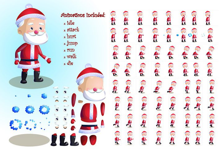 2D Game Santa Character Sprite Sheets