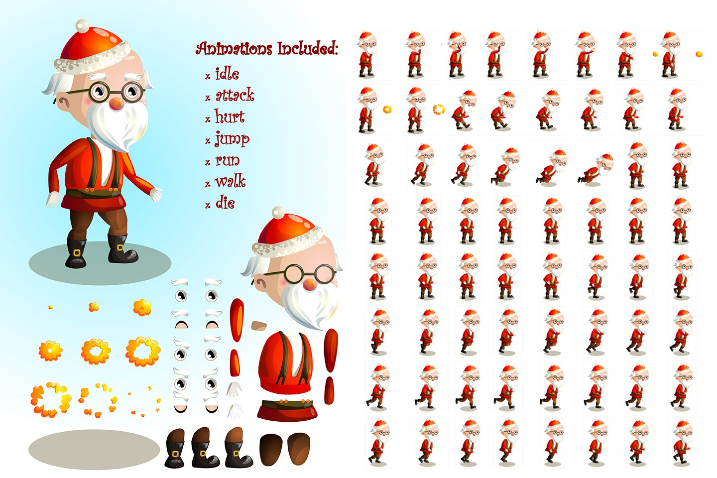2d game santa character sprite sheets 2d game santa character sprite sheets - Santa Sheets