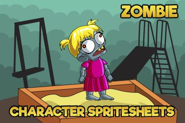 2D Game Zombie Kids Character Free Sprite 8