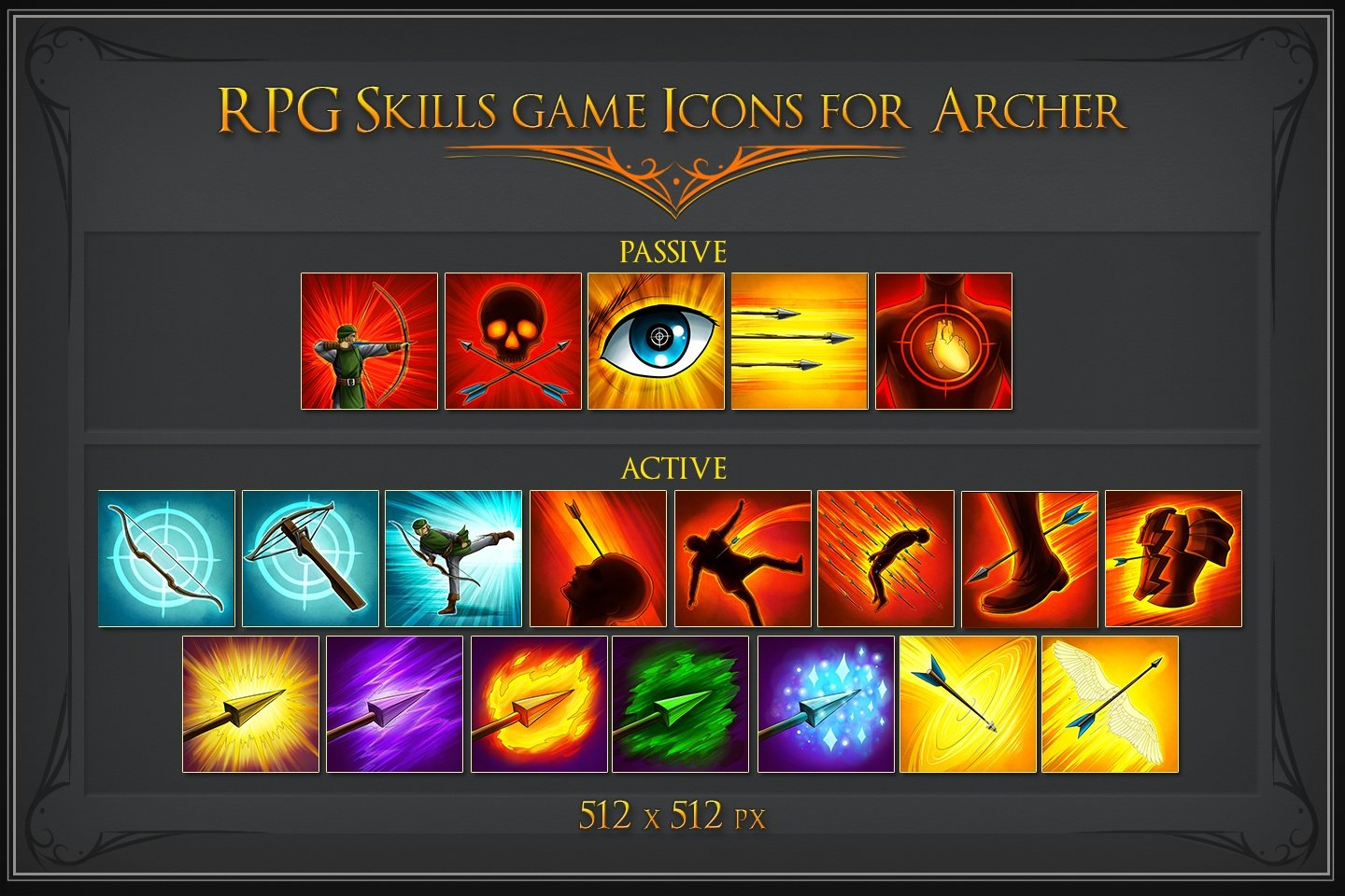 RPG Skill Icons for Archer