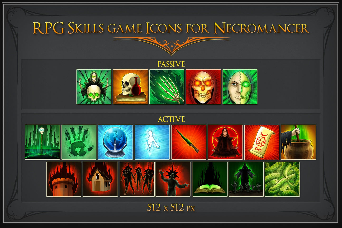 RPG Skill Icons for Necromancer