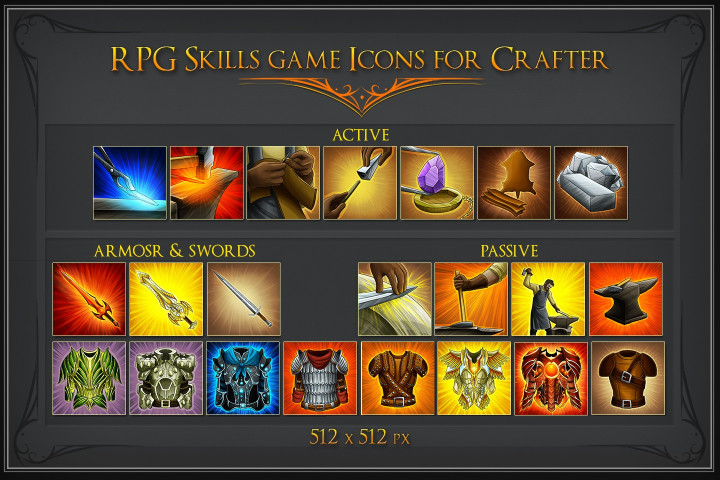 Free RPG Skill Icons for Crafter, Blacksmith and Gnome