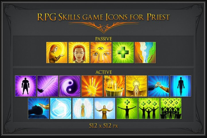 RPG Skill Icons for Priest