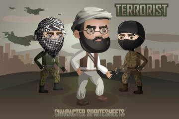 2D Game Terrorists Character Free Sprites Sheets