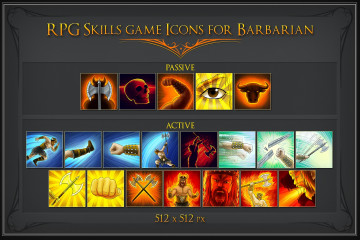 RPG Skill Icons for Barbarian