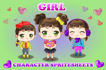 2D Game Chibi Girl Character Sprite Sheets