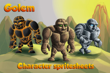 2D Game Golem Character Sprites