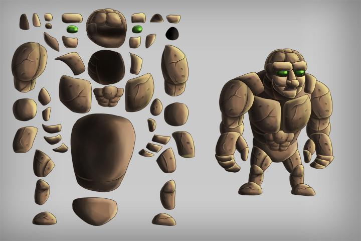 2D-Game-Golem-Character-Sprites
