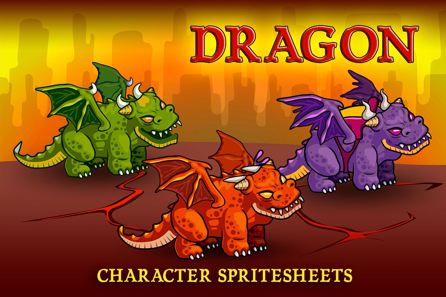 2D Fantasy Dragons Character Sprite