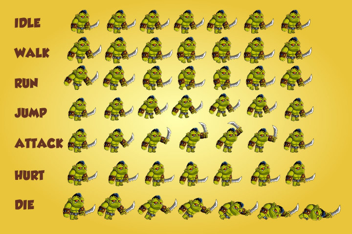 2D Fantasy Orcs Free Sprite Sheets