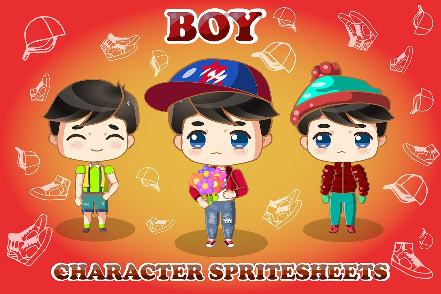 2D Game Chibi Boy Free Character Sprite Sheet