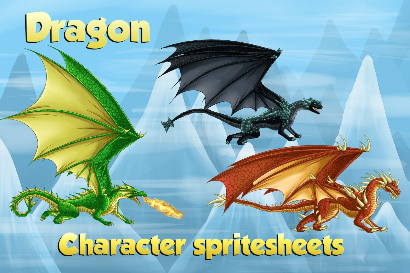 2D Game Dragon Character Sprites