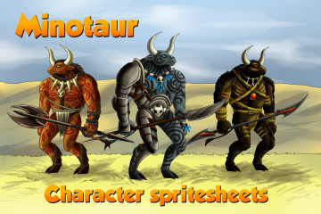 2D Game Minotaur Character Sprites