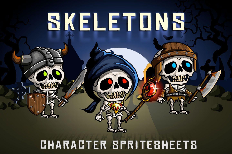 2D Fantasy Skeletons Character Sprite