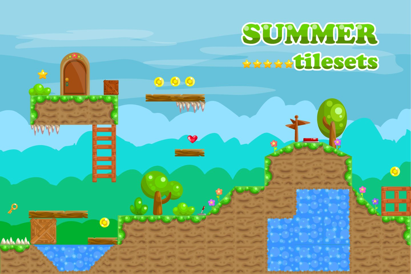 Platformer Summer Game TileSet