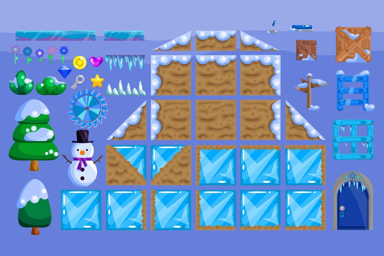 Platformer Winter Game TileSet