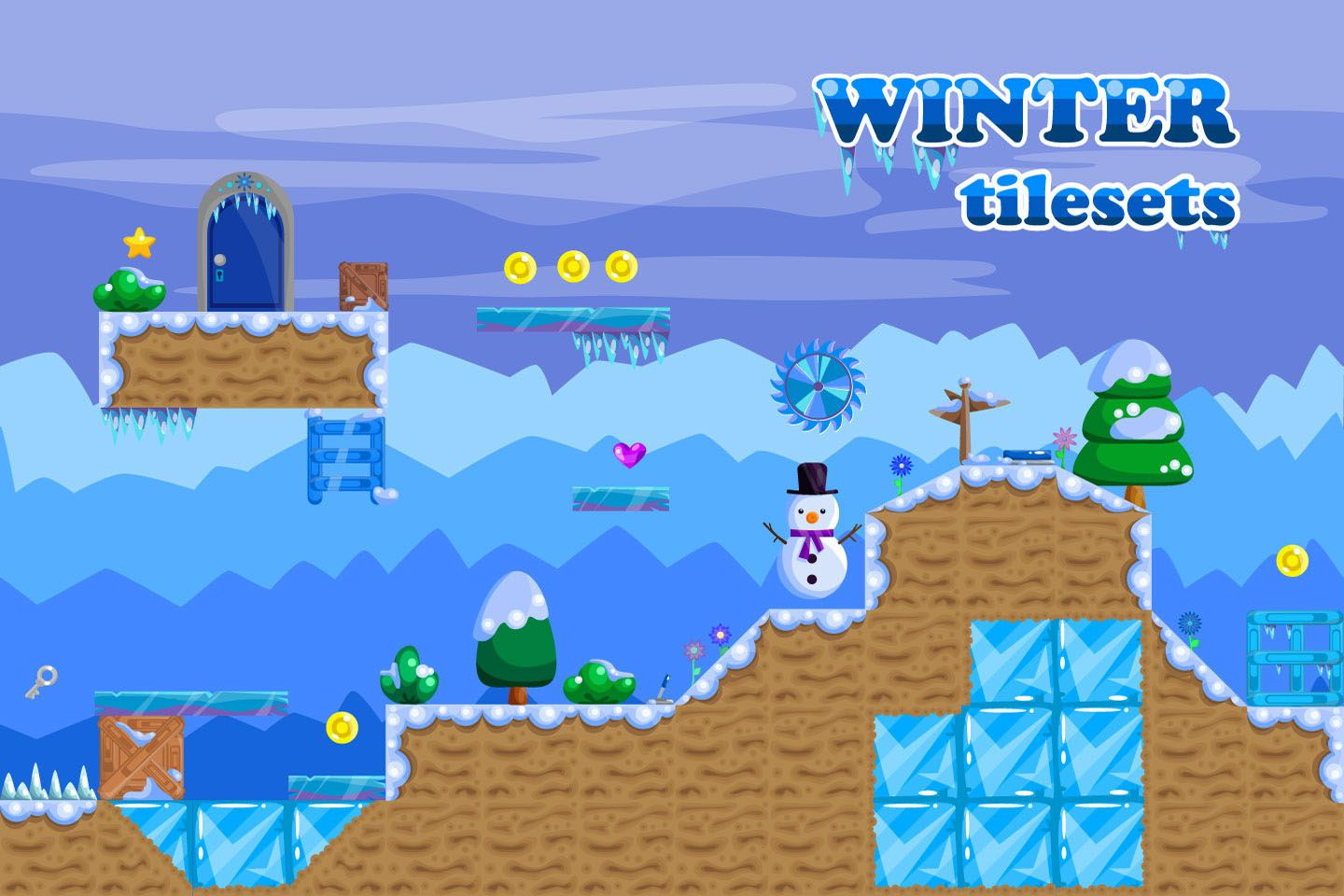 Platformer Winter Game TileSet