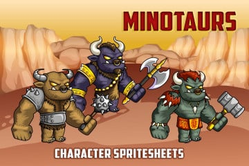 2D Fantasy Minotaurs Character Sprite