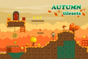 Platformer Autumn Game Free TileSet