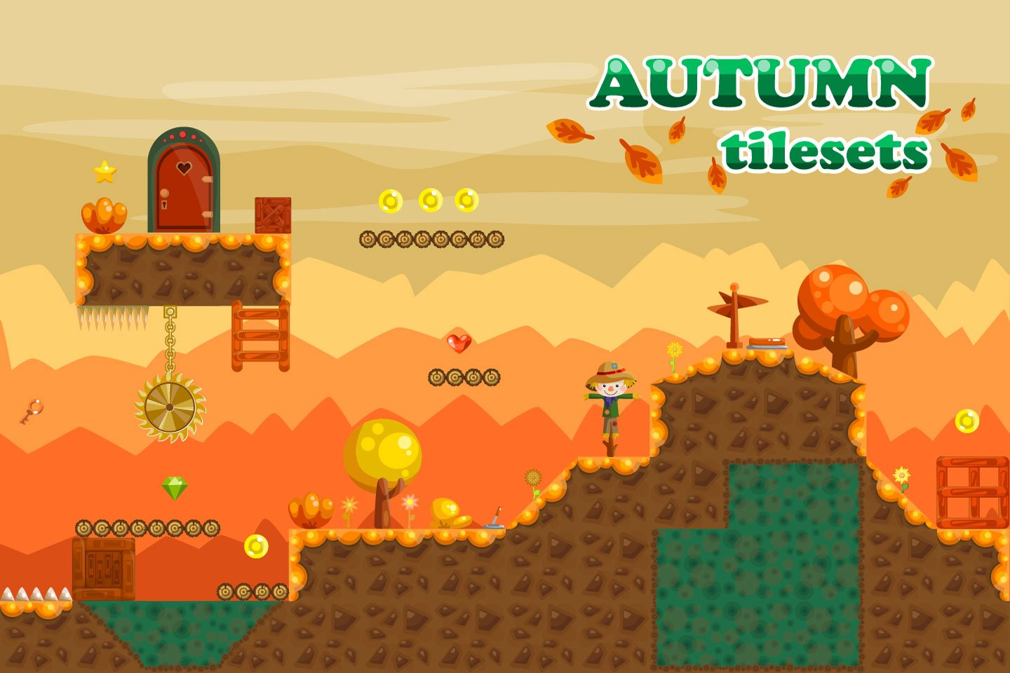 Platformer Autumn Game Free TileSet