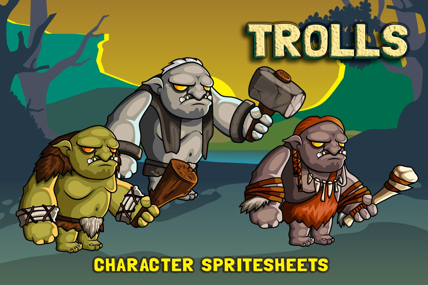 2D Fantasy Trolls Free Character Sprite