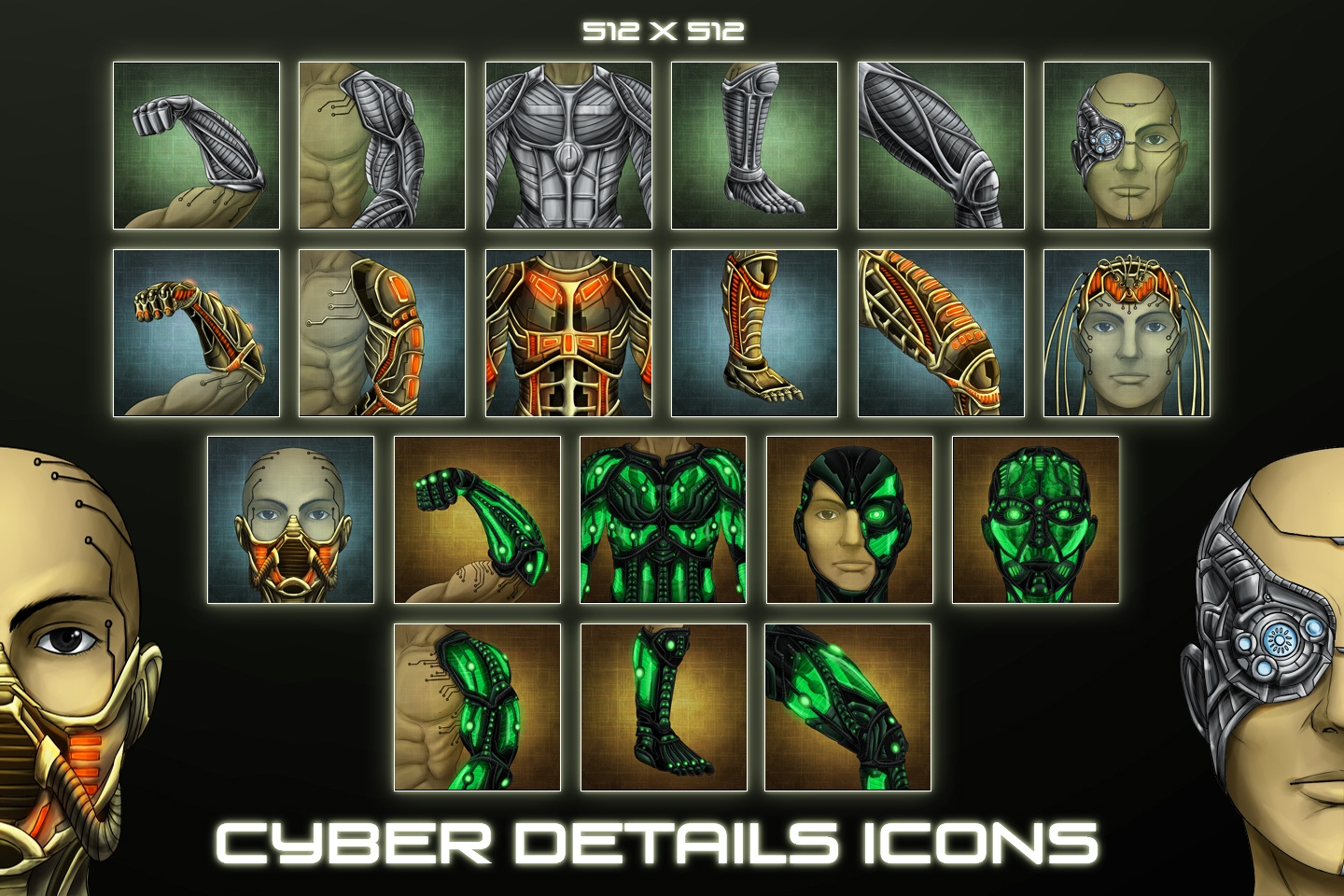 Sci-Fi Cyber Details Icons