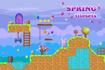 Platformer Spring Game TileSet