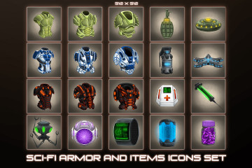 Sci-Fi Item and Armor Icons