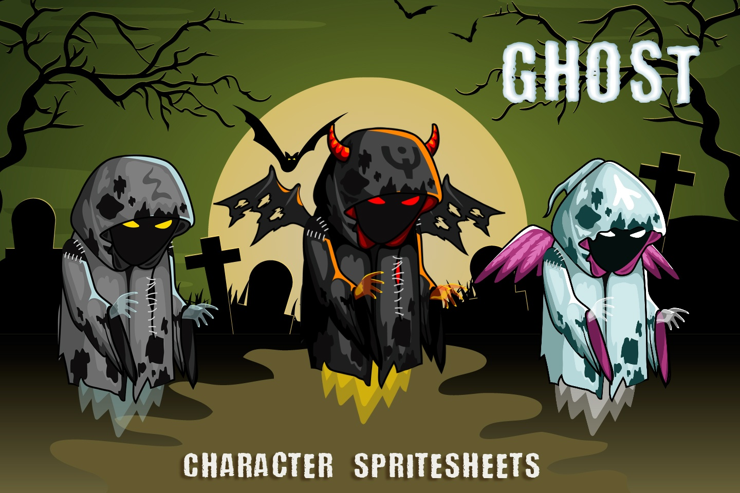 2D Fantasy Ghosts Character Sprite