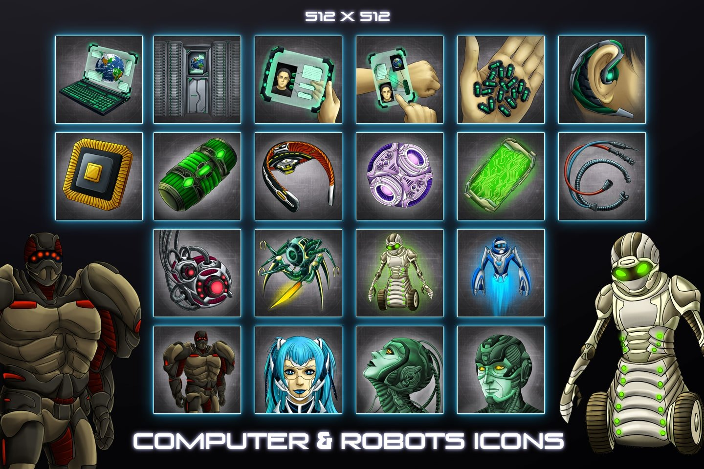 Sci-Fi Robots and Computers Icons