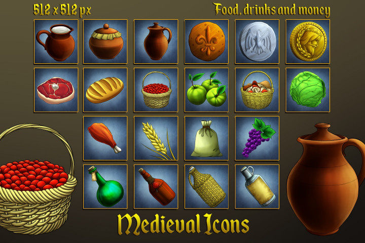 Medieval-Icons-Food-Drinks-and-Money