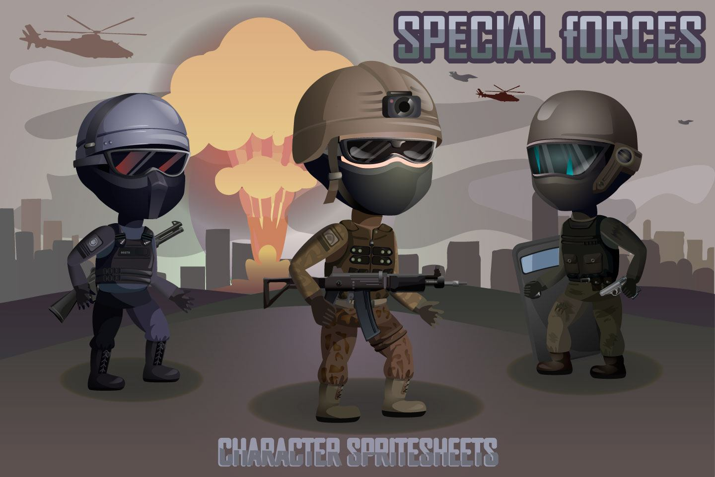 2D Game Special Forces Character Sprites Sheets