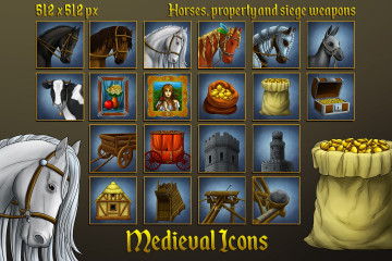 Free Medieval Icons: Horses, property and siege weapons